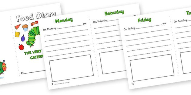 The Very Hungry Caterpillar 7 Day Food Diary Writing Frame