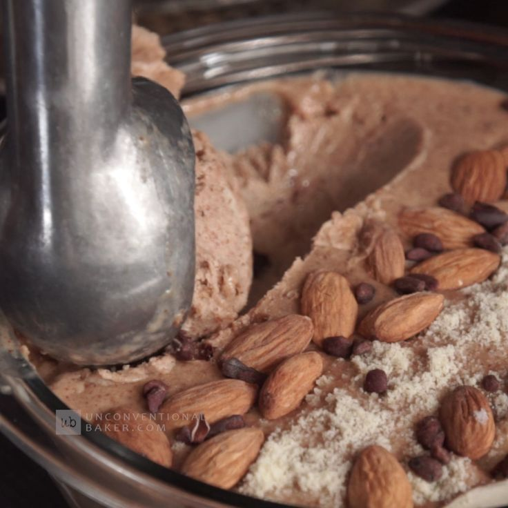 No Churn, Dairy-Free Creamy Almond Butter Ice Cream #veganrecipes #icecream