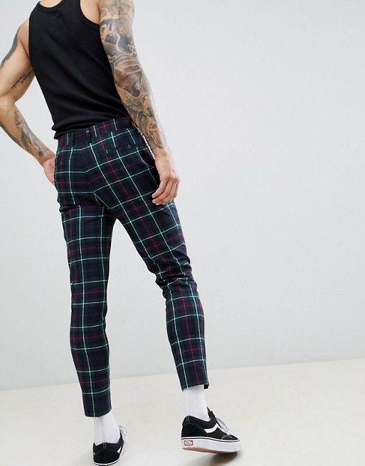 e9edd449e8e25 DESIGN super skinny crop smart trousers in tartan