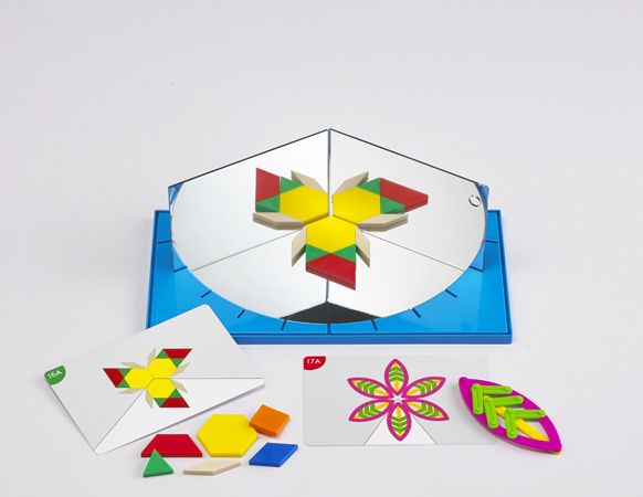 Junior GeoLand Mirror Set teaches children to explore symmetry and reflection through creative thinking and problem solving #edxeducation #learnbyplay #finemotorskills #learningisfun