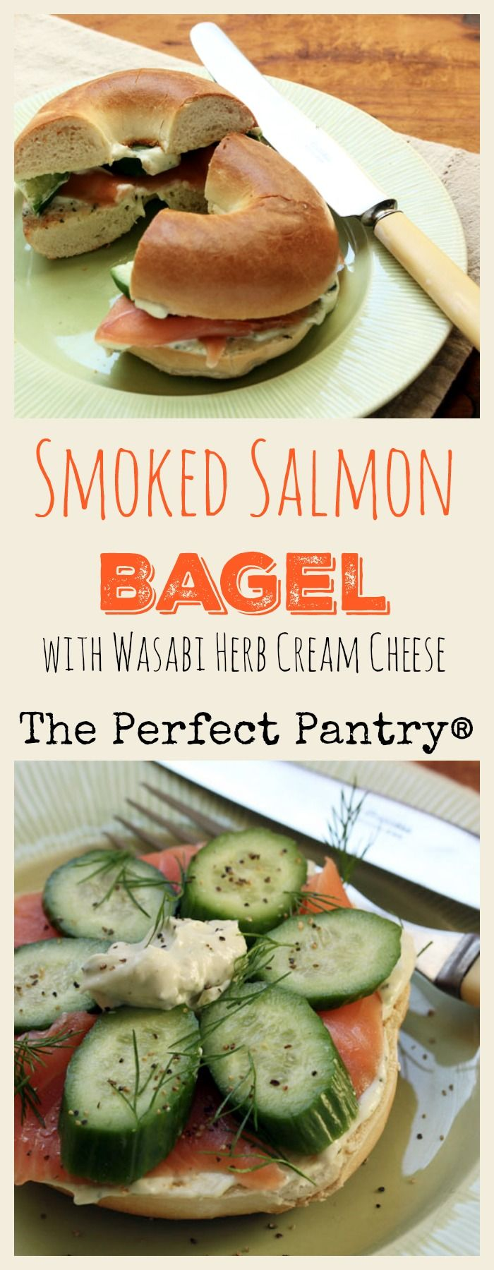 Smoked salmon bagel with amazing wasabi herb cream cheese, a brunch delight! from ThePerfectPantry.com