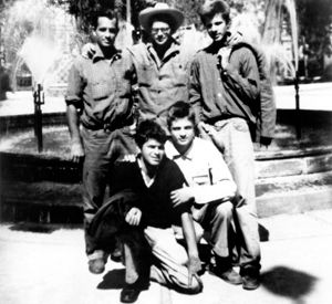 Shown clockwise from left: Jack Kerouac, Allen Ginsberg, Peter Orlovsky, Lafcadio Orlovsky, and Gregory Corso in 1956. The Beat movement was characterized by a rejection of the materialism, militarism, consumerism, and conformity of the 1950s, in favor of individual freedom and spontaneity.