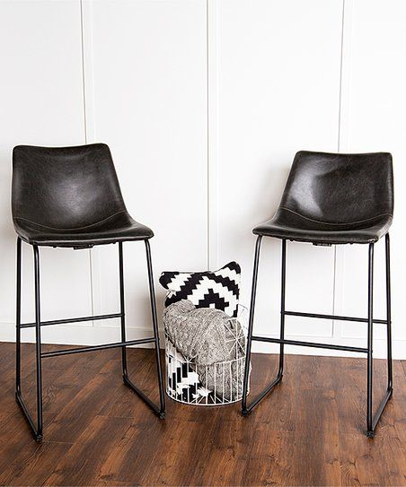 Walker Edison Black Faux Leather Counter Stool Set Of Two