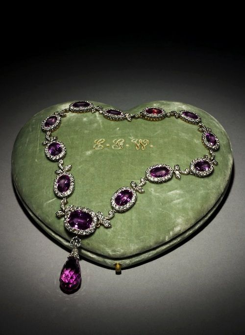 Tiffany & Co. amethyst and diamond necklace, c. 1885-1895, The Cleveland Museum of Natural History.