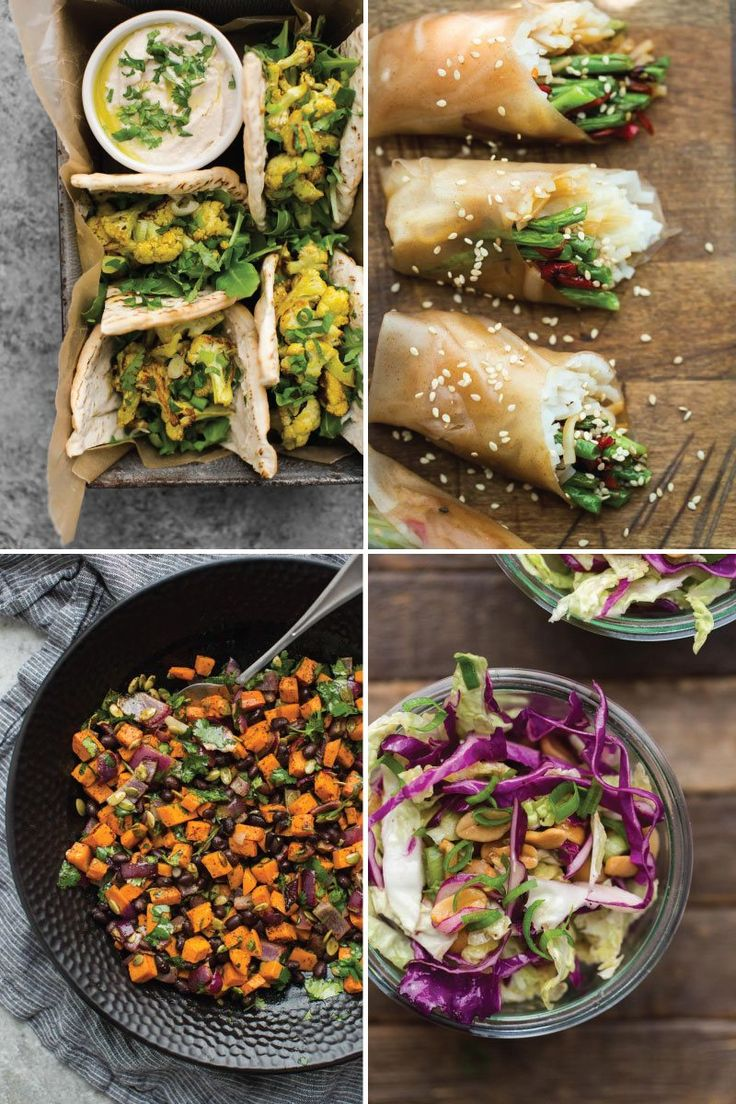 A list of vegetarian picnic recipes to pack for a day at the beach or a road trip. List features snacks, salads, sandwiches, and summer rolls.