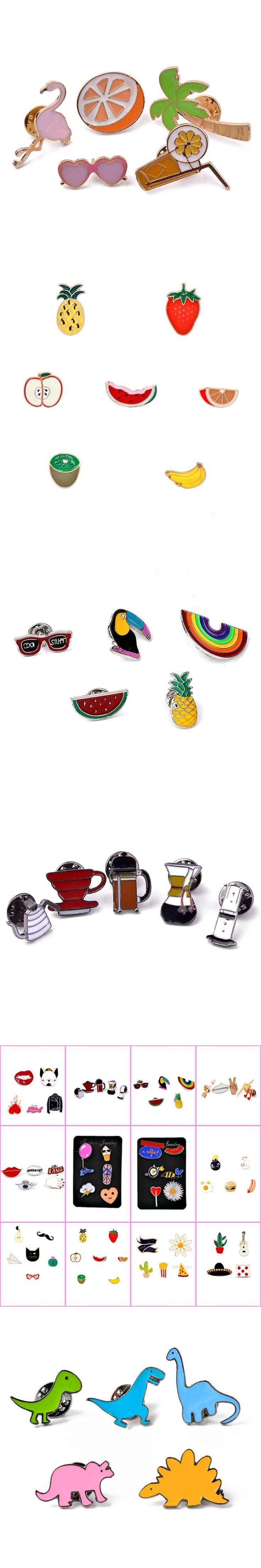 4-7 PCS/Set Cartoon Brooch Pin Enamel Cute Animal Fruit Pear Ice Cream Shirt Lapel Pin Collar For Women Girl Scarf Pins Brooches