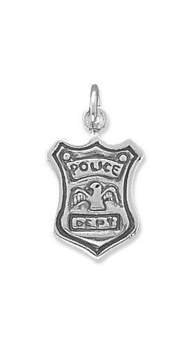 Police Shield Charm .925 Sterling Silver