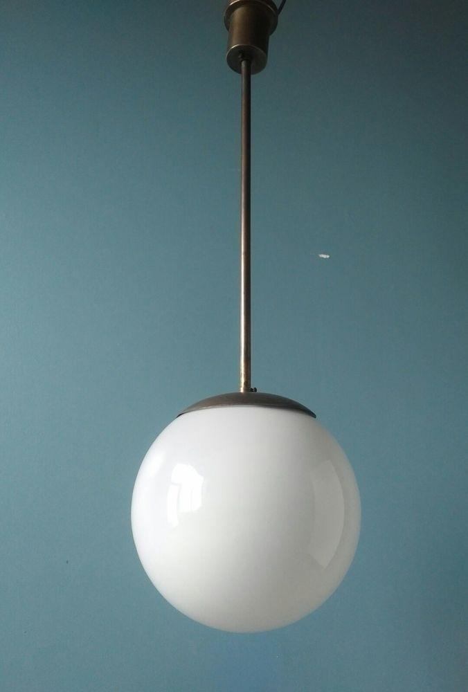 Bauhaus Kugellampe Deckenlampe Pendelleuchte 30er Jahre Opalglas Messing Lampen Kugellampe Glaskugel