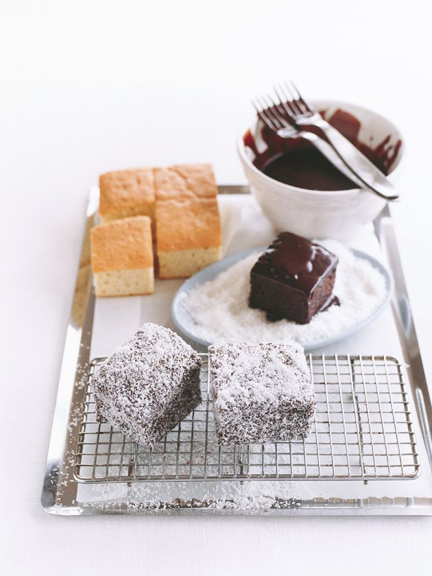 DONNA HAY lamingtons - 1 basic sponge cake, 3 cups (480g) sugar, ¾ cup (75g) cocoa powder, ⅓ cup (80ml) boiling water, 75g butter, melted dessicated coconut, to coat : Make 1 quantity basic sponge cake in an 18cm-square cake tin and cool on a wire rack. Cut into 6cm squares. Sift together the icing sugar and cocoa. Mix with the boiling water and melted butter. Using 2 forks to hold the sponge squares, dip in the chocolate icing and roll in desiccated coconut.