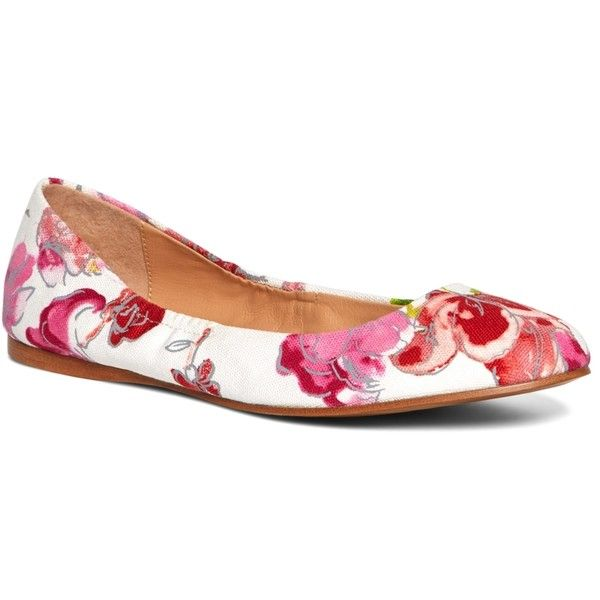 Brooks Brothers Floral Canvas Ballet Flats found on Polyvore