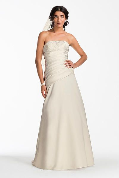 Satin A-line Wedding Dress with Ruched Bodice OP1255