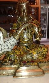 Brass Buddha with Swan bird, adorned with Tiger finish stones, 8 inches