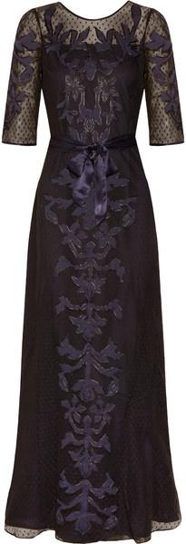 Alice By Temperley Floria Appliquéd Cottonmesh Gown (midnight) - Lyst