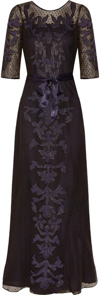 Alice By Temperley Floria Appliquéd Cottonmesh Gown (midnight) - Lyst