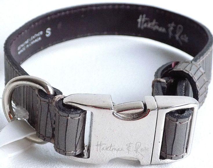 Hartman & Rose Contemporary Collection Dog Collar Small Bark/Smoke #HartmanandRose