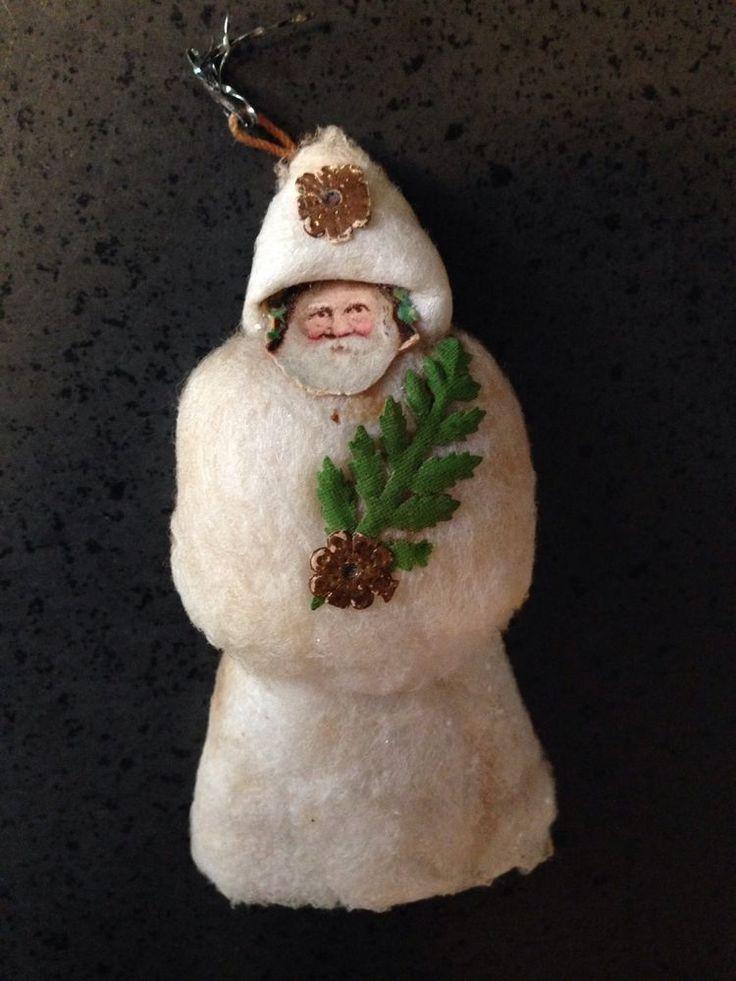 Antique Spun Cotton German Christmas Santa