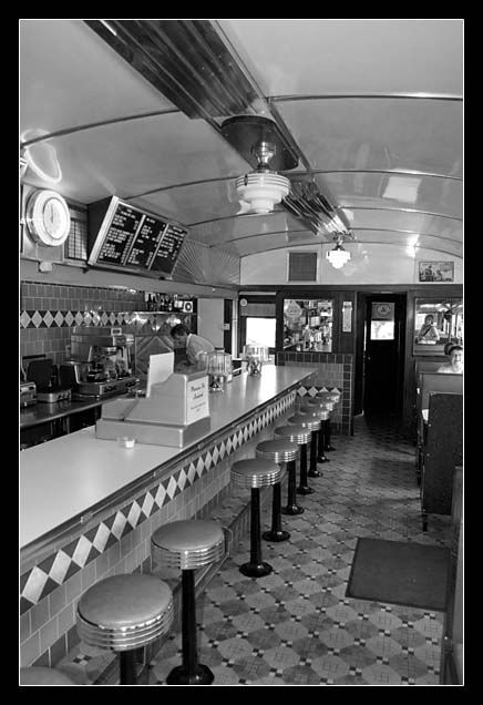 """George & Sally's, a 1941 Silk City Diner formerly known as the """"Blue Moon Diner,"""" now at the Gilmore Car Museum, Hickory Corners, Mich."""