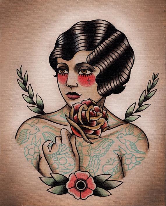 Tattooed Flapper and Rose Tattoo Flash