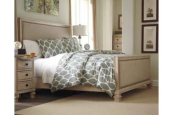 The demarlos upholstered panel bed from ashley furniture homestore with the rustic for Demarlos upholstered panel bedroom set