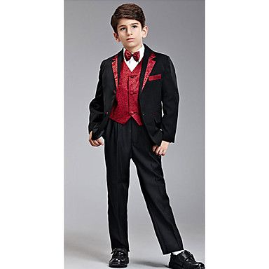 Eight Pieces Black And Red Ring Bearer Suit Tuxedo - USD $ 69.99