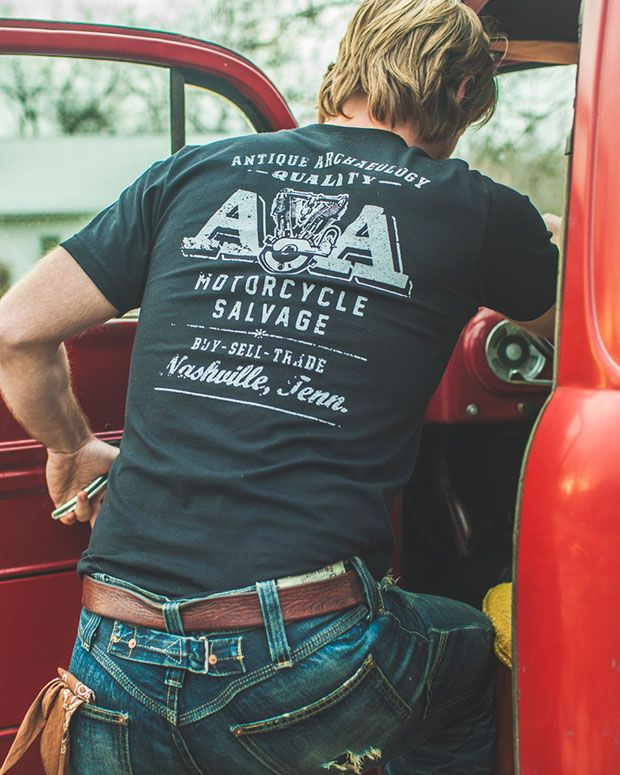 MOTORCYCLE SALVAGE AA TEE - Vintage Graphic Tee - Mike Wolfe | American Pickers | Antique Archaeology | History Channel