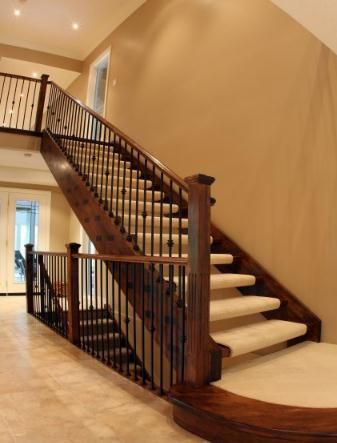Carpeted open riser? Bannister/railing ideas