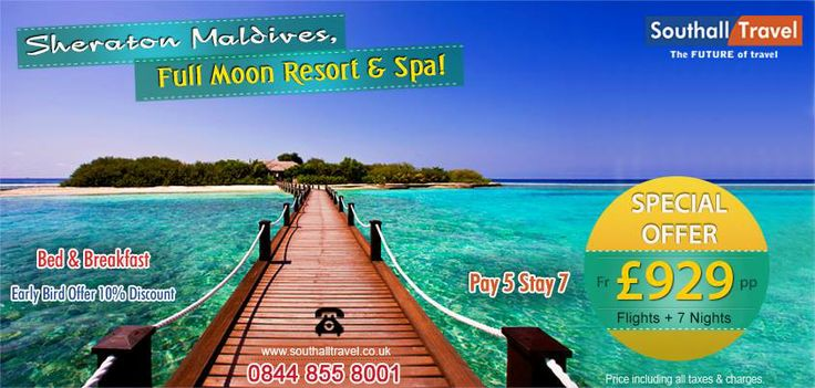 Enhance the wonders of a vacation at #Maldives with a stay at the Sheraton, #FullMoon #Resort & #Spa. Exclusive offers available across all categories. Call now for bookings! http://www.southalltravel.co.uk/holidays/indian-ocean/Maldives/sheraton-maldives-full-moon-resort-spa.aspx