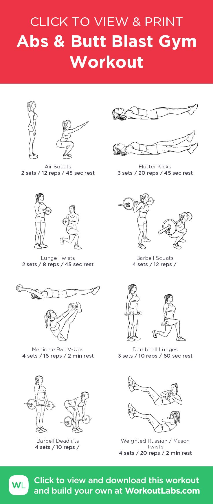 Abs & Butt Blast Gym Workout – illustrated exercise plan created at WorkoutLabs.com/Fit • Click for a printable PDF and to build your own #customworkout