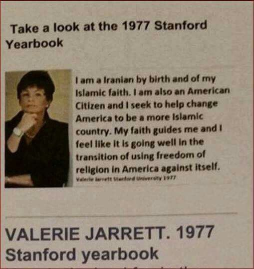 Valerie Jarrett - Enemy #1 | unbelievable, that Stanford allowed this to be printed in their yearbook! And what does this say about a huge educational institution who are educating America's next generations!