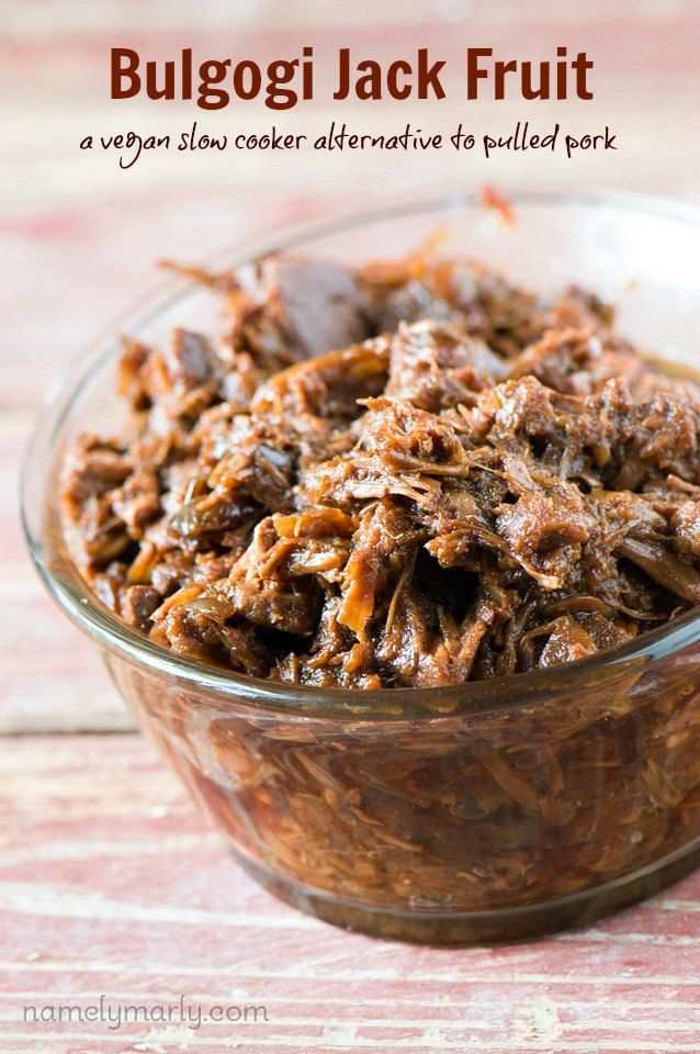 Enjoy this Crockpot Bulgogi Jack Fruit recipe as an meat-free alternative to pulled pork. You'll love the flavors, texture, and healthiness of this recipe!