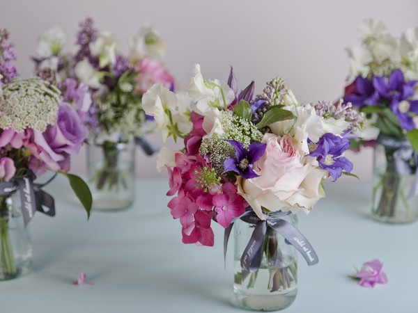 Wild at Heart jam jar flowers
