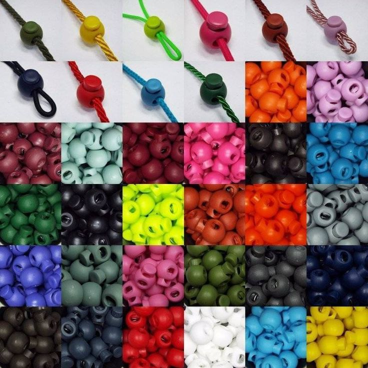 Spring Cord Toggles. 28 Colours. Upto 5mm Rope. Ball Shape Clasp Stopper. Bag, Coat etc. This is a buy it now for ball shape cord spring clasp/toggles. The more you buy the better the price per clasp. | eBay!