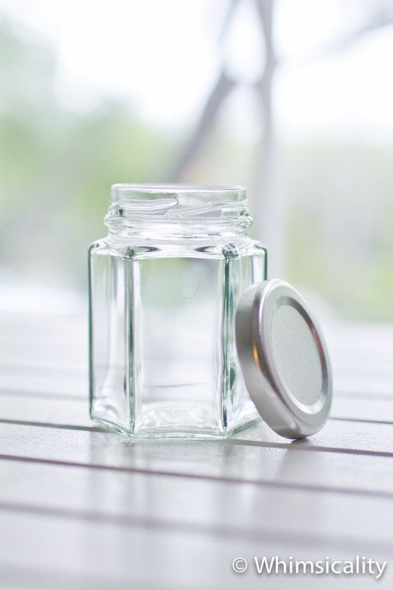 100 small hexagonal glass jars - Silver metal lids - DIY wedding favours / Bomboniere / Bonbonniere on Etsy, $125.00 AUD