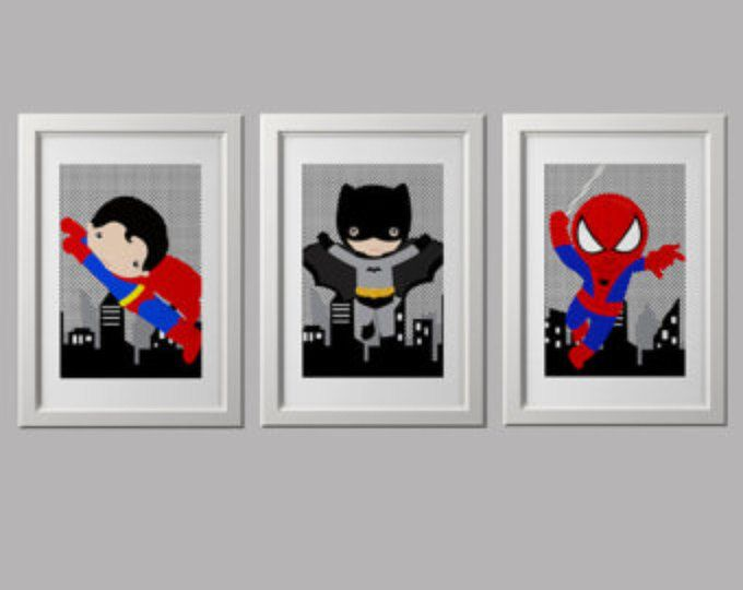 superhero bedroom wall decor PRINTS 8x10 inch each, shipped to your door, pick 3 characters, batman spiderman superman bedroom wall decor