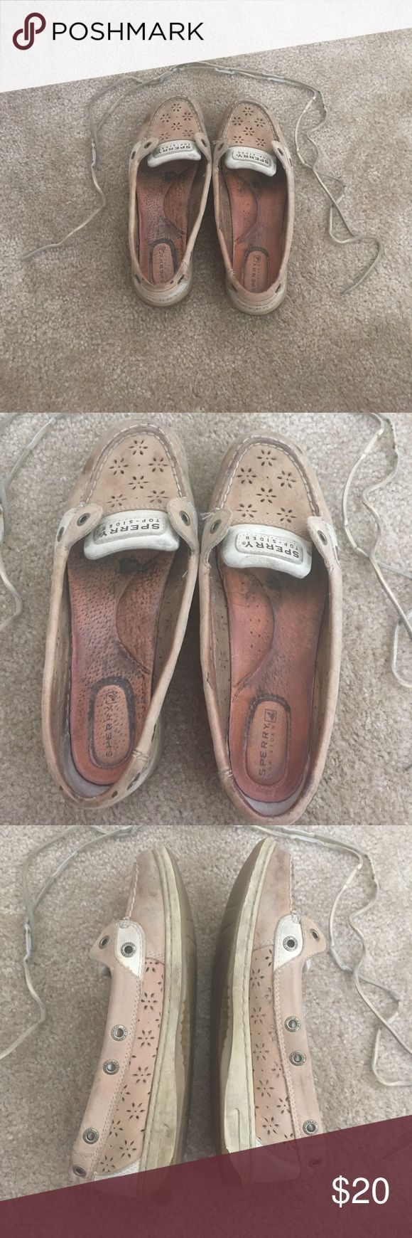TGIF SALE! 🥂EYELET SPERRY'S Worn for two seasons. Very used. Have a lot of life left in them. All stains etc. visibly pictured. Both laces are taken out but are included. Pictures are as is, will clean and sanitize them for you before shipping. Sperry Top-Sider Shoes Sneakers