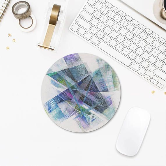 Blue Art Mousepad Original Design Gift For Geeks Rounded