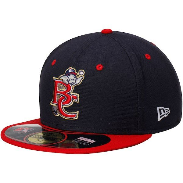 8a7266545caa6 Brevard County Manatees New Era Authentic Road 59FIFTY Fitted Hat -  Navy Red  BrevardCountyManatees