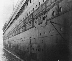 """Titanic""'s starboard shell plating  (looking aft)"