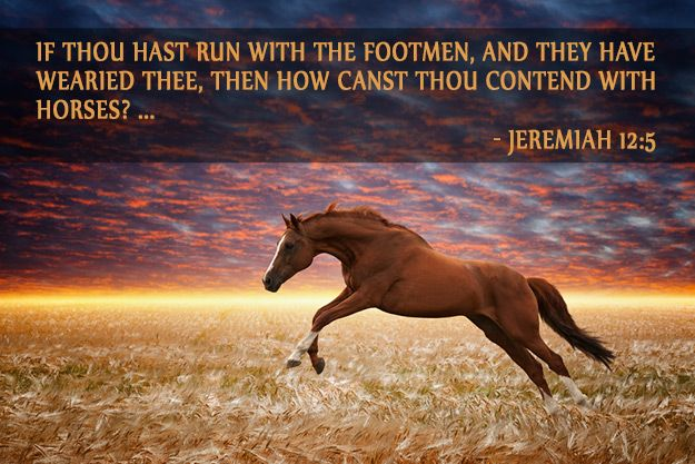 If thou hast run with the footmen, and they have wearied thee, then how canst thou contend with horses? and if in the land of peace, wherein thou trustedst, they wearied thee, then how wilt thou do in the swelling of Jordan? (Jeremiah 12:5)