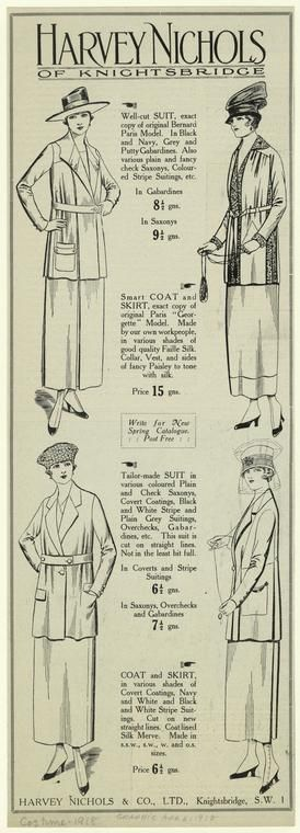 [Suits, coats, and skirts from Harvey Nichols of Knightsbridge, 1918.]