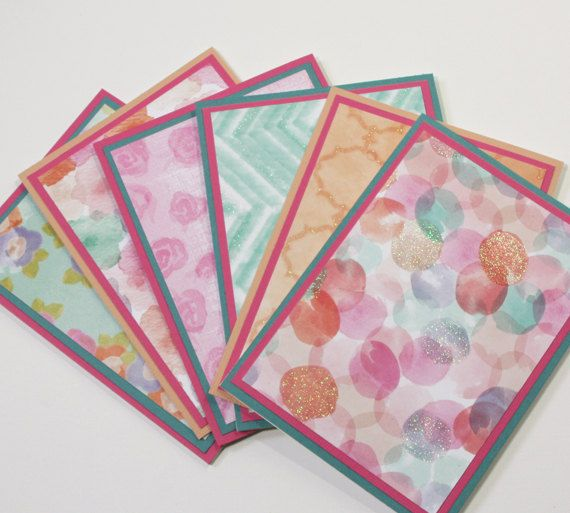 Note Cards Handmade  Set of 6 blank notecards  by CardsbyGayelynn