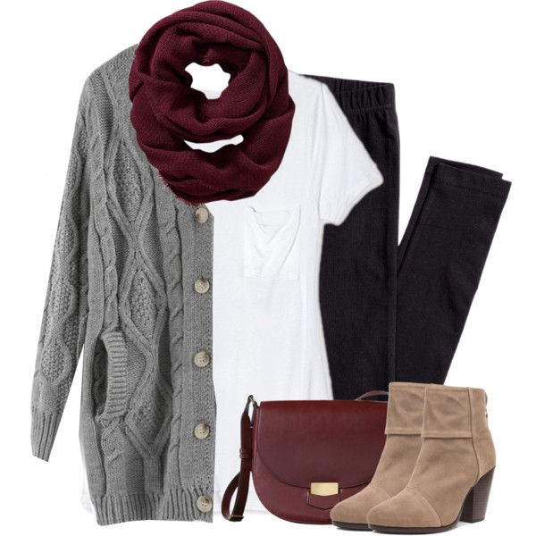 Gray cardigan, burgundy scarf with leggings by steffiestaffie on Polyvore featuring Target, H&M, rag & bone and Old Navy