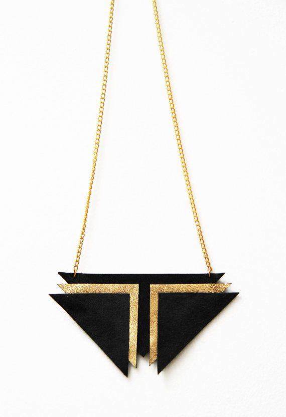 Zhora: Black Gold Leather & Suede Chevron Statement Necklace// Geometric// Retro Futurism on Etsy, $27.44