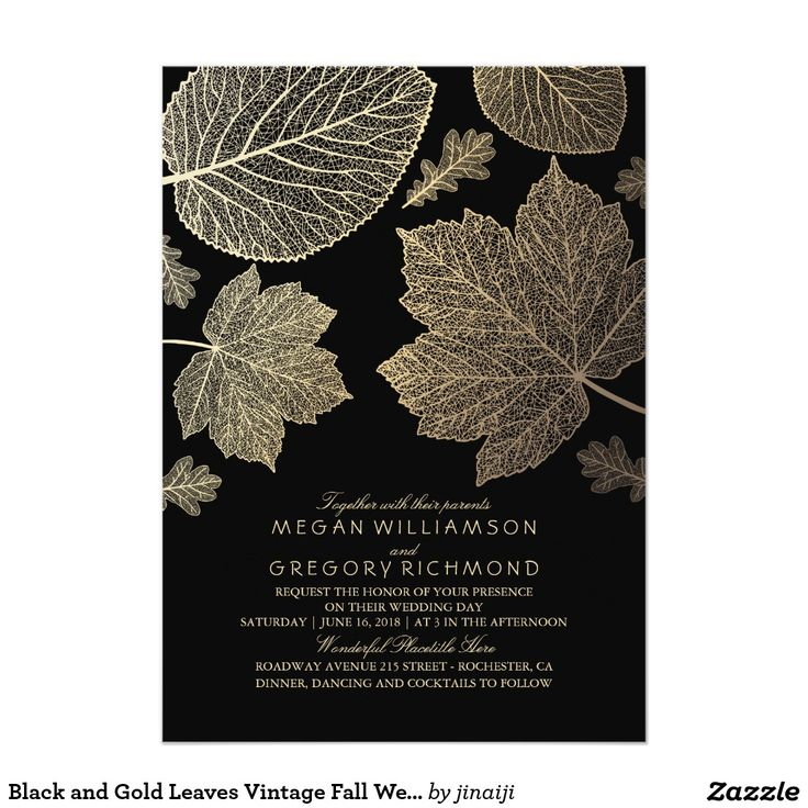 Black and Gold Leaves Vintage Fall Autumn Chic Elegant Wedding Invites…