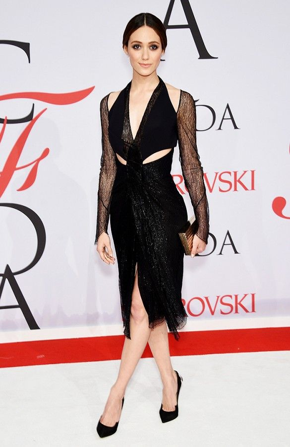 Emmy Rossum in a black lace Dion Lee dress