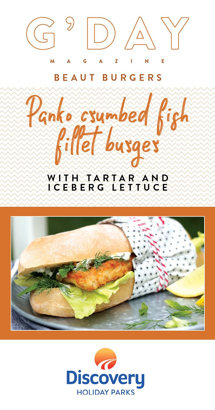 Nothing says an Australian summer like BBQ and burgers. Here are a few twists on the classic. Click here and try out this delicious Panko Crumbed Fish Fillet Burger with Tartar and Iceberg Lettuce recipe on your next BBQ. For more camping recipes, grab your FREE copy of the new summer issue of G'DAY magazine at any of our 60+ Discovery Holiday Parks. #Burgers #Recipes #Camping #Caravan
