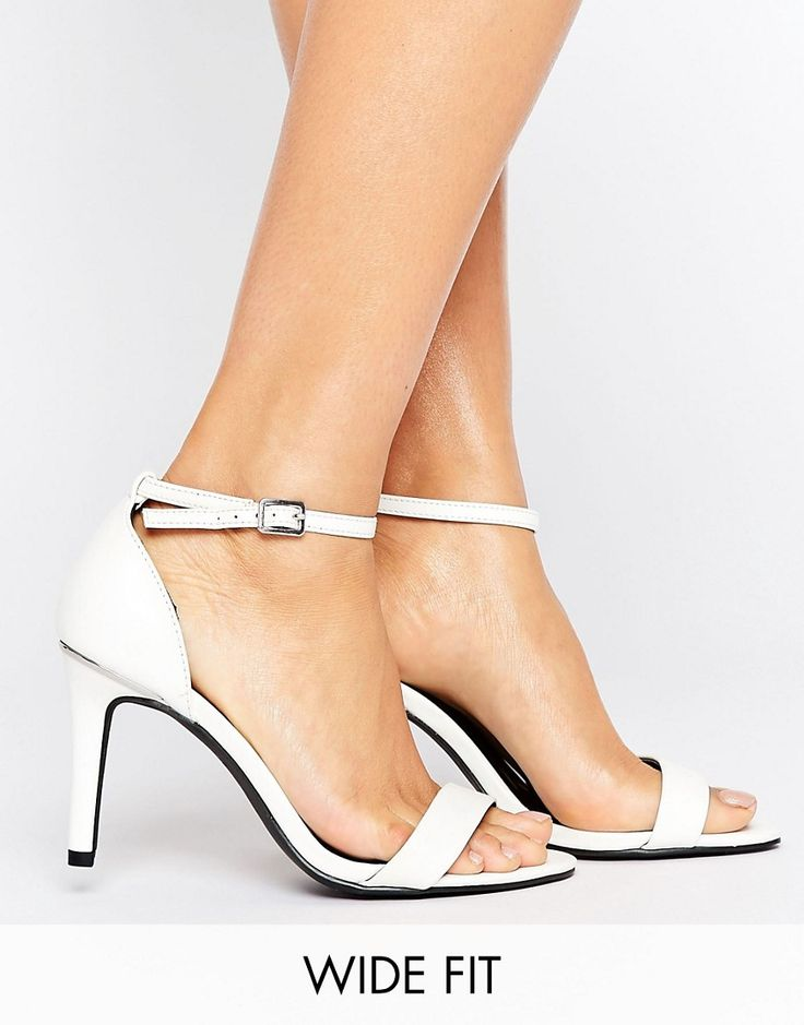 New Look Wide Fit Barely There Heeled Sandal - White