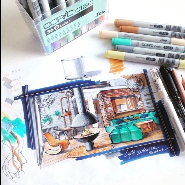 Interior drawing. Beautiful! ❤️ By @olgaart888 #ARQUITETAPAGE  Interior drawing, sketching, hand rendering, techniques, floor plan, perspective, design, ideas, materials, wood, brick, stone, loft, kitchen, living room, bedroom, dining room, restaurant. My Markers: Copic, Promarker, Chartpak, Stylefile markers Hand Renderer: Olga Sorokina www.olgaart888.com