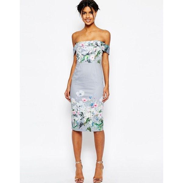 ASOS Gray Border Floral Midi Pencil Dress ($42) ❤ liked on Polyvore featuring dresses, multi, midi dress, white off shoulder dress, white dresses, white floral dress and white off the shoulder dress