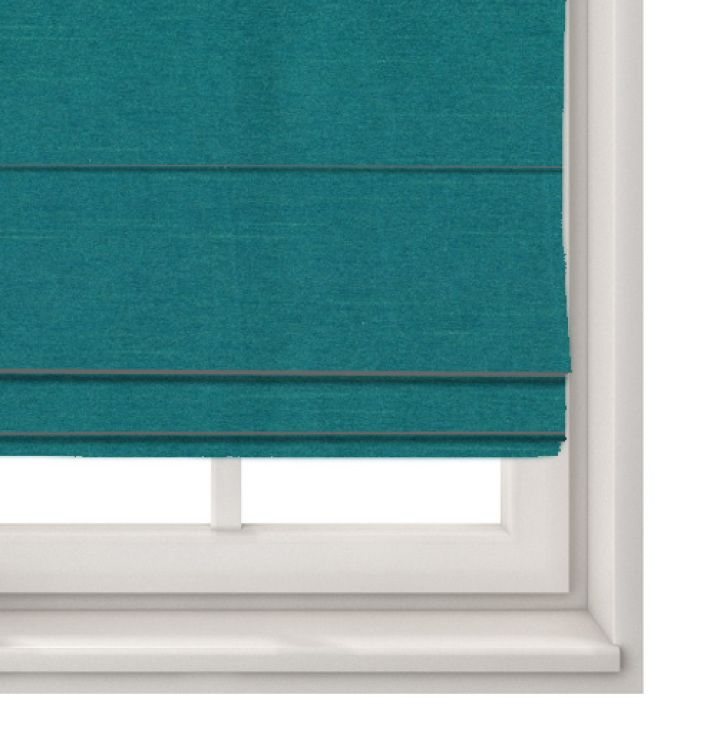 Roman Blind Faux Silk Teal - Made To Measure Roman Blinds Arcadia Textiles - Made to Measure Roman Blind in Faux Silk Teal.A great quality fabric, at amazing prices.Measuring Options:Recess